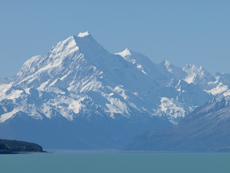 Mount Cook, towering over milk-blue Lake Pukaki, Mackenzie Country, New Zealand
